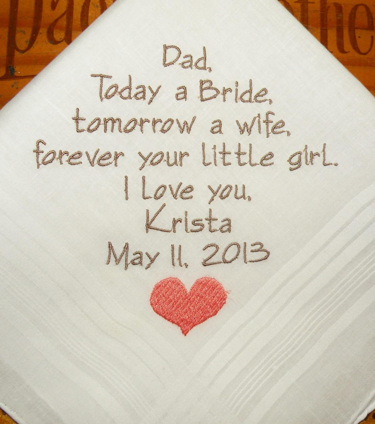 Wedding Gifts For Fathers: Father Of The Bride Personalized Wedding Hankerchiefs