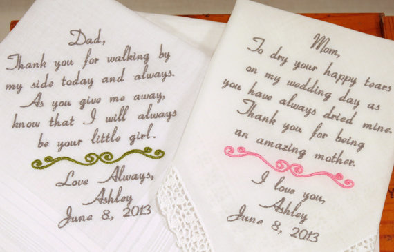 Mom Dad Embroidered Wedding Hankerchiefs Handkerchiefs Personalized 2 Gifts For Pas