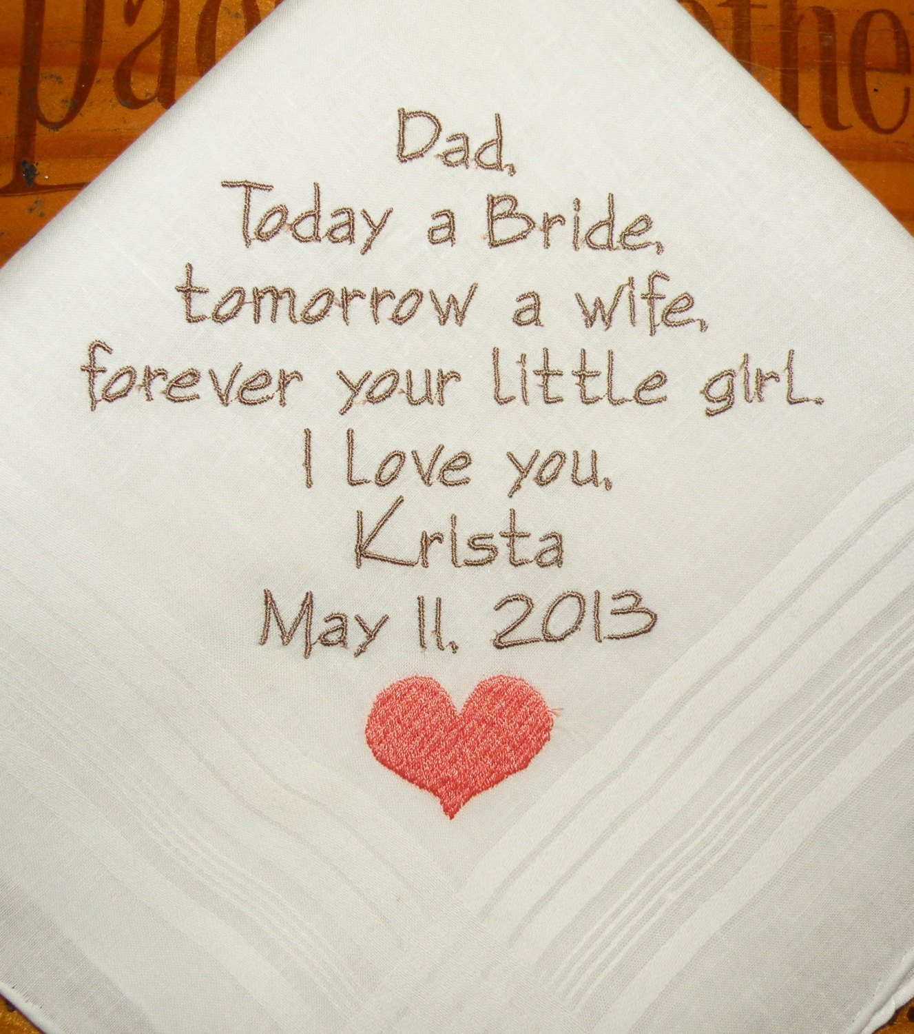 Mom Dad Embroidered Wedding Hankerchiefs Handkerchiefs Personalized ...