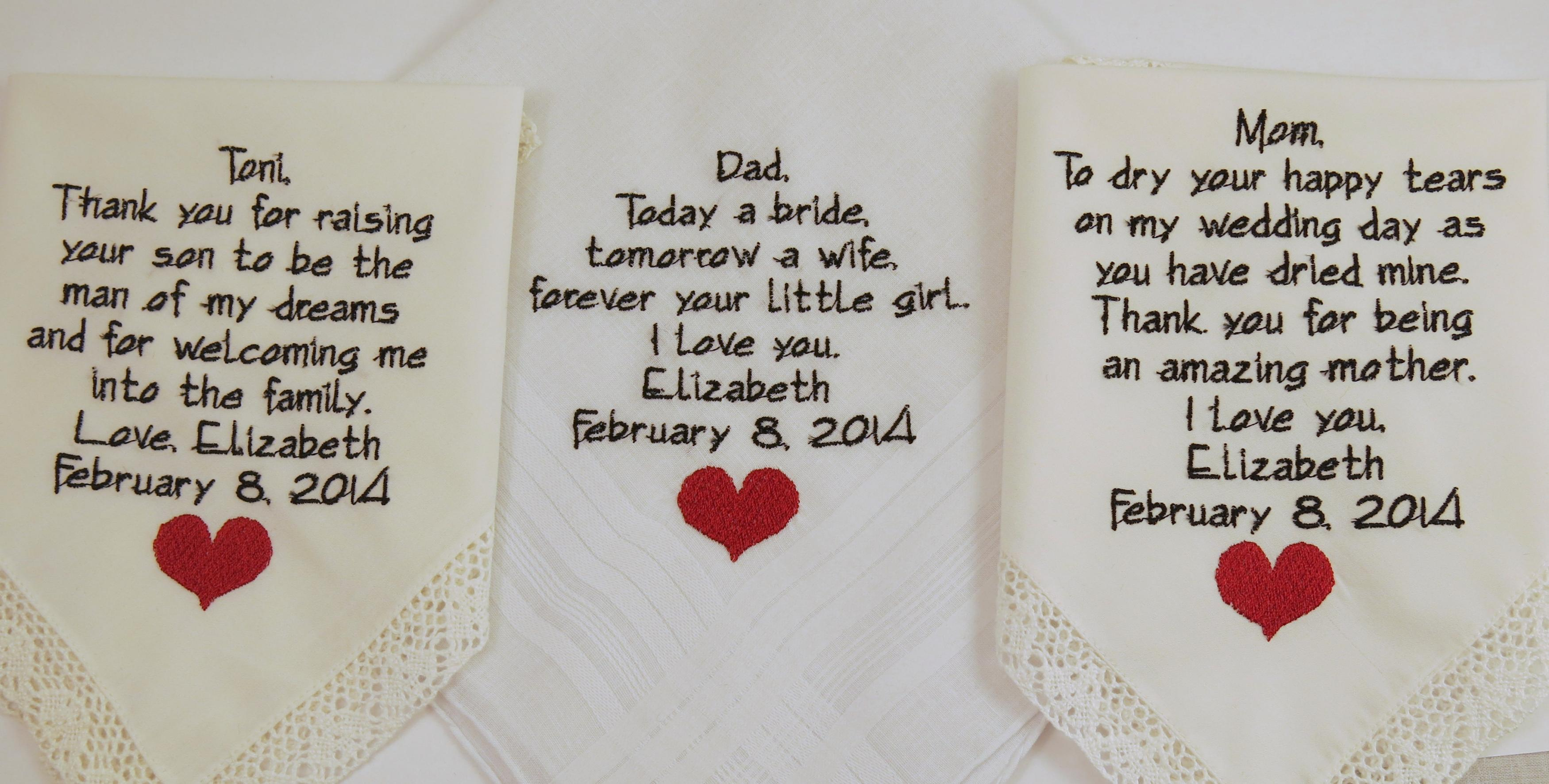 Mother Father Embroidered Wedding Hankerchiefs Gift Poem Heart In Law Marriage 3 Pack